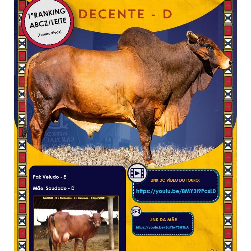 Dose de sêmen de touro da raça Sindi - Decente D